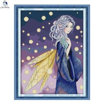 Kits de punto de cruz JoySunday, bordado de Natalia Fairy little angel y Rosa 14CT11CT, pintura de algodón, regalo, arte, descuento al por mayor