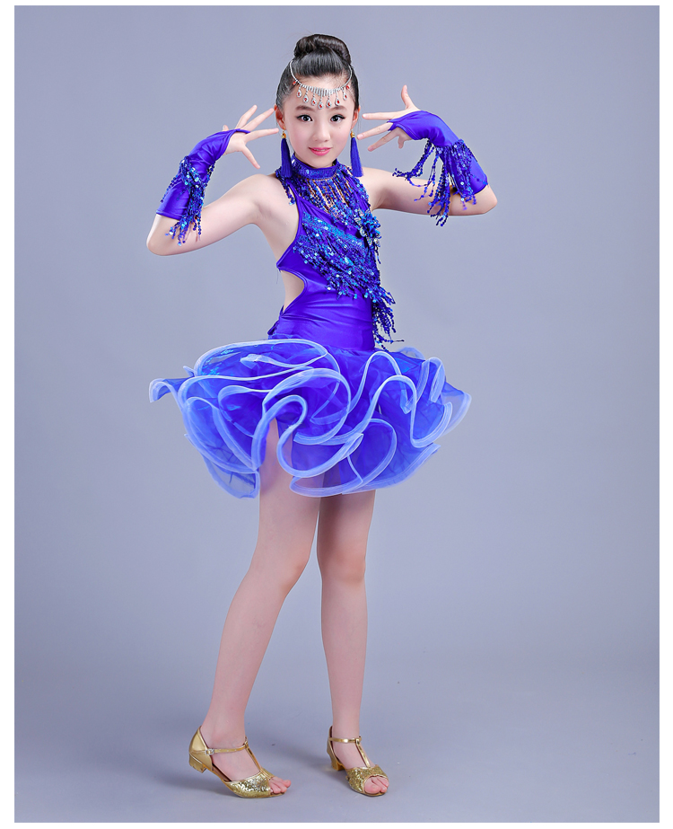Elegant Sexy Sequin Latin Ballroom Dance Dress Child Kid Latin Competition Latin Dance Dress for Stage Performance Wear
