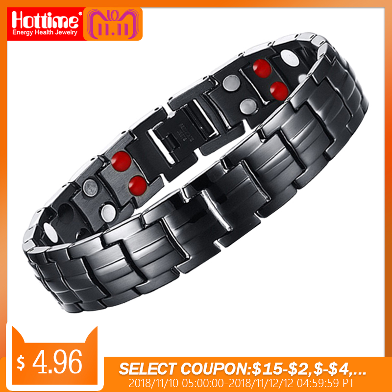 Tropfen-Verschiffen Punk Gesunde Energie Armband Schwarz Kette Link Armbänder Schmuck Edelstahl Magnet Armbänder für Männer Schmuck