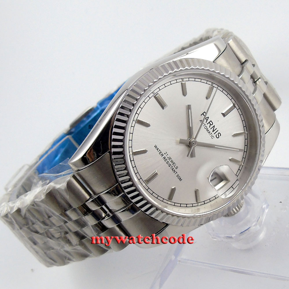 36mm Parnis silver dial Sapphire glass 21 jewels Miyota automatic mens watch P389 цена и фото