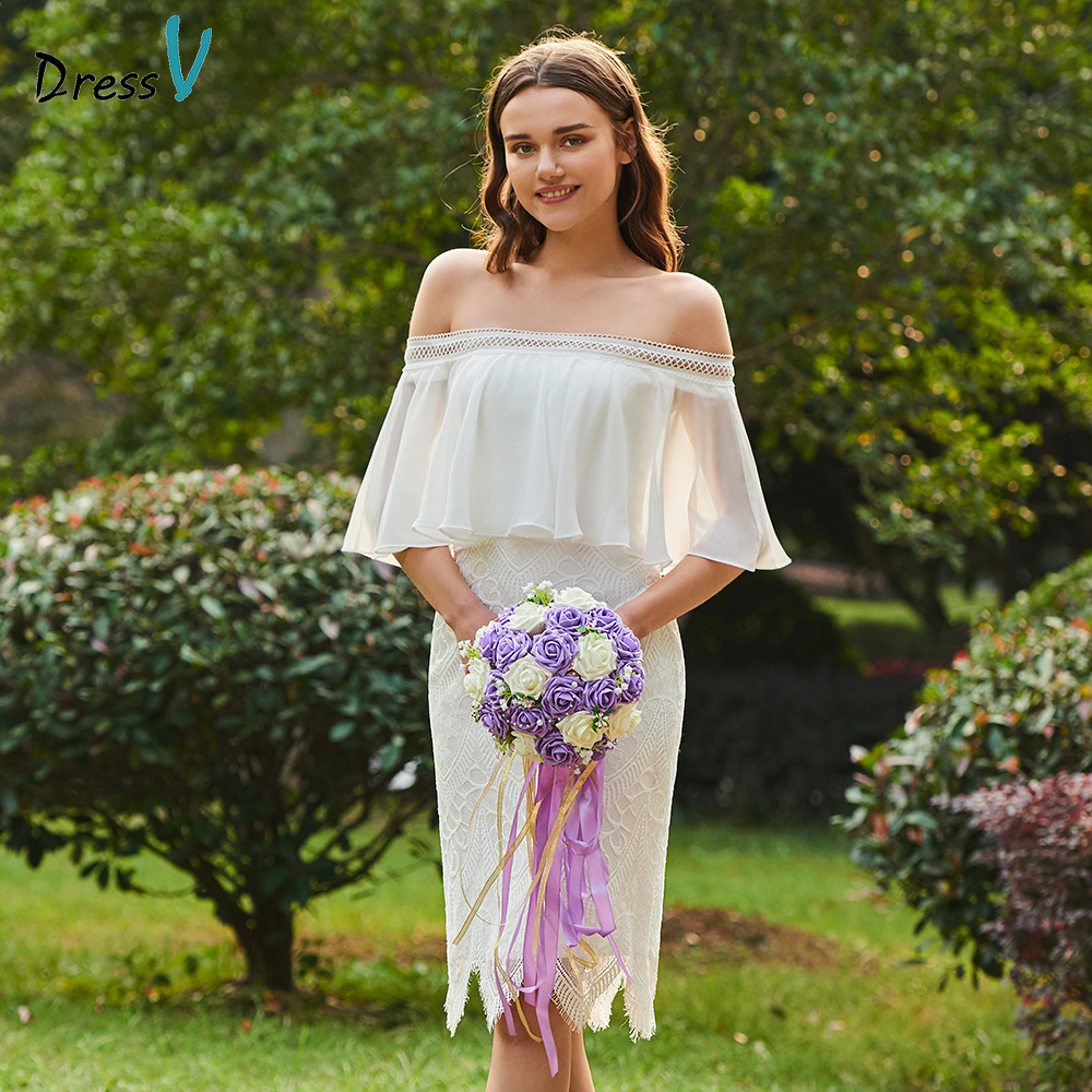 Dressv ivory off the shoulder sheath bridesmaid dress zipper-up half sleeves wedding party women knee length bridesmaid dress