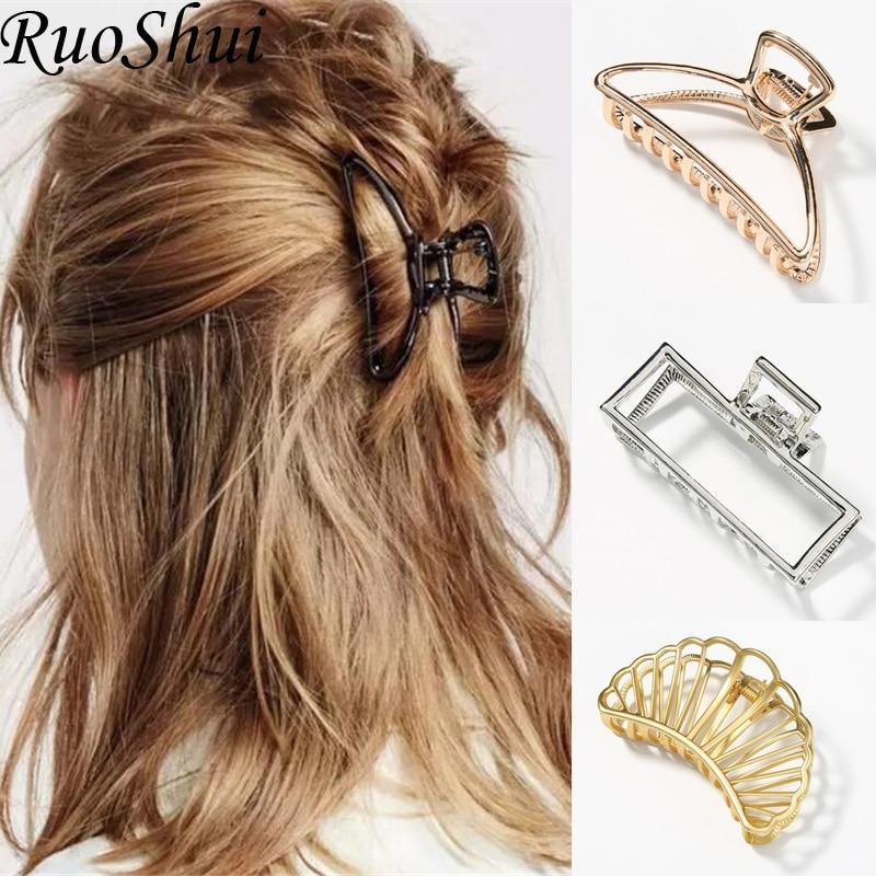 1 Pc Women Girls Geometric Alloy Fashion Hair Claws Hair Clips Banana Girls Large Hair Making Tools Elegant Hair Accessories
