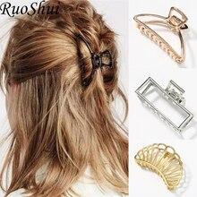 d3d6065e8 1 pc Women Girls Geometric Alloy Fashion Hair Claws Hair Clips Banana Girls  Large Hair Making