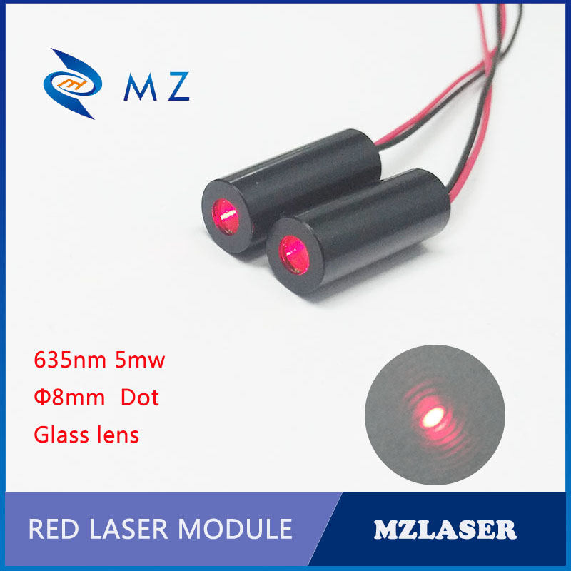 Red laser module 8mm 635nm5mw laser module Glass lens Small divergence Angle.