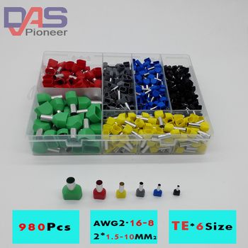цена на 780pcs    Dual Bootlace Ferrule teminator Kit Electrical Crimp Dual entry cord end wire terminal connector