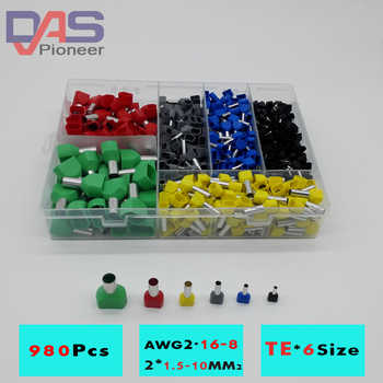 780pcs    Dual Bootlace Ferrule teminator Kit Electrical Crimp Dual entry cord end wire terminal connector - DISCOUNT ITEM  17% OFF All Category