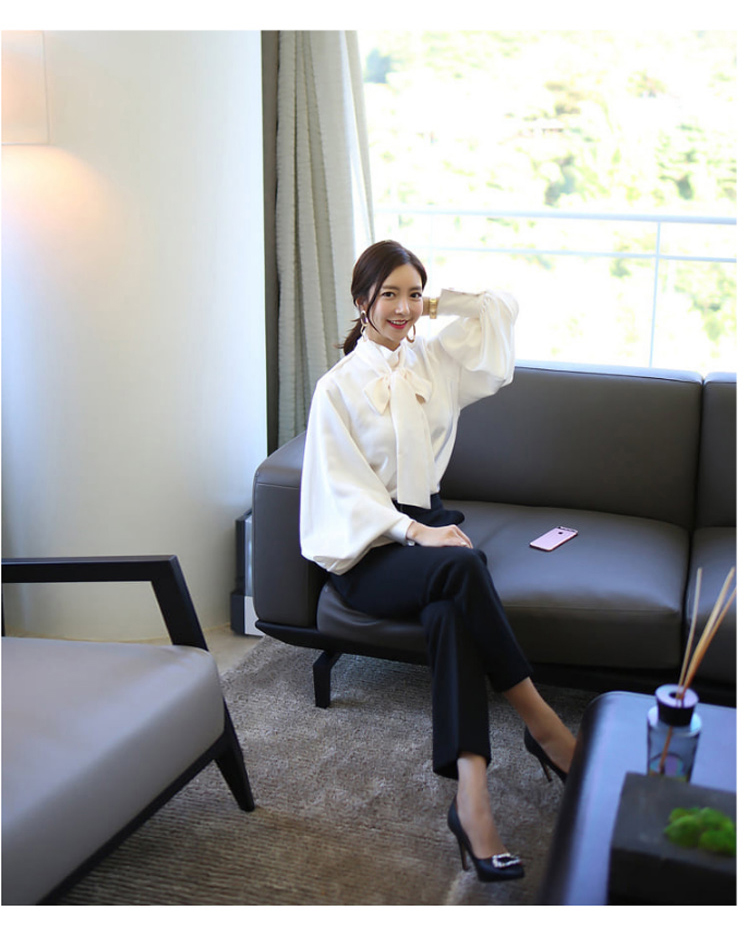 2019 Spring Women Blouse Korean Office Lady White Chiffon Long Lantern Sleeve Bow Shirt Casual Loose Stand Collar Blouse (1)