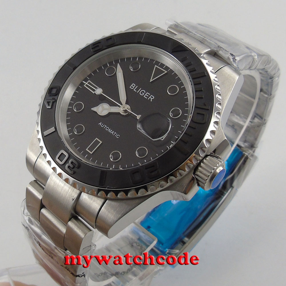 40mm bliger black dial brushed ceramic bezel sapphire glass automatic mens watch цена и фото