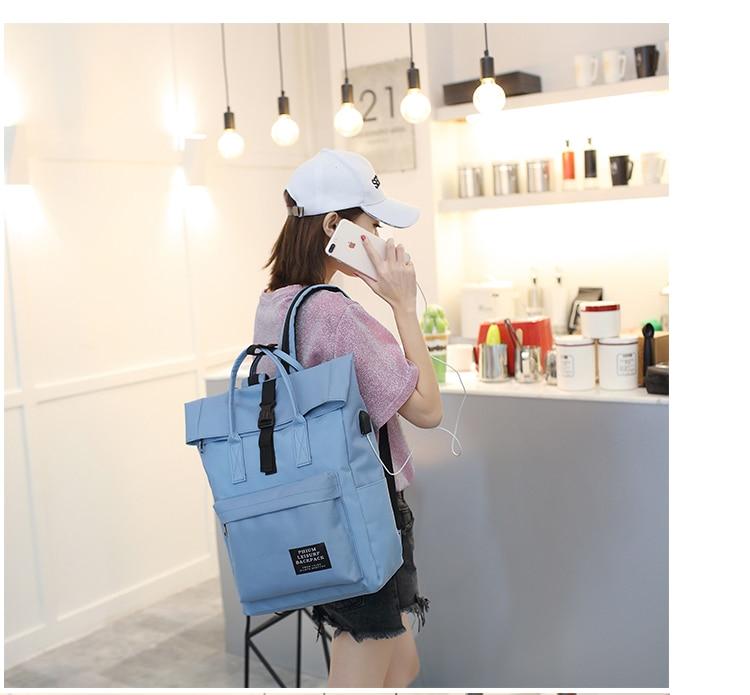Women External USB Charge Backpack Canvas Rucksack Male Mochila Escolar Girls Laptop Shoulder School Bags Backpack for teens