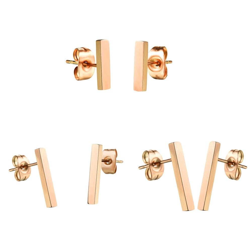 Glossy New Design Rose Gold Color Titanium Steel Fashion Square Bar Earrings Staple Ear Stud Earrings