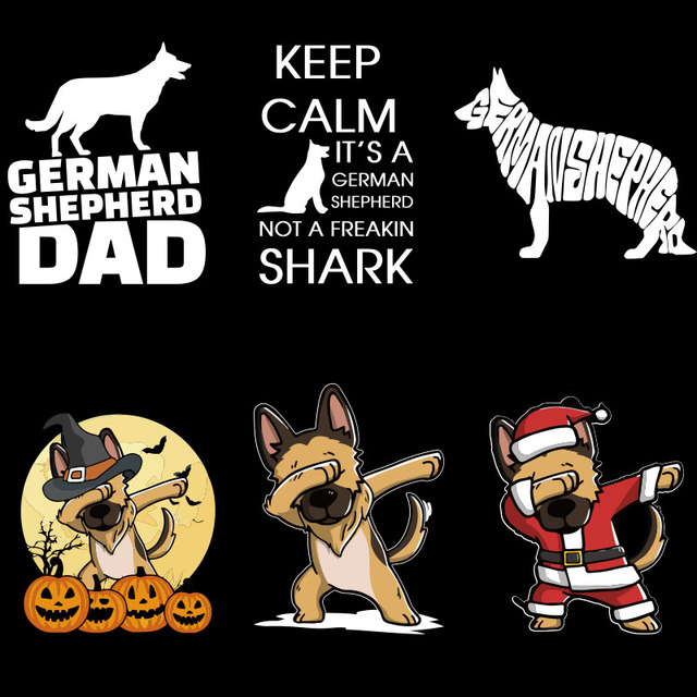 German Shepherd T shirt Pug Funny Camiseta Unisex 100% Cotton Design Halloween Gift T shirt Homme EU Size