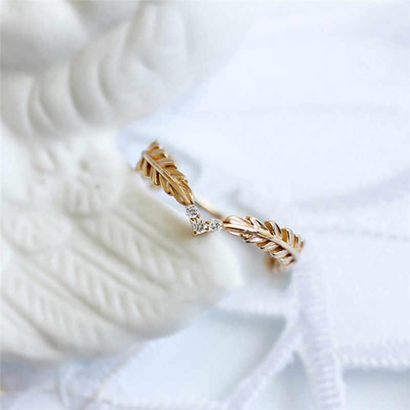ROMAD buğday yüzük altın parmak yüzük kadınlar için barış sembolü parti yüzükler kadın bitki takı bijoux femme R3