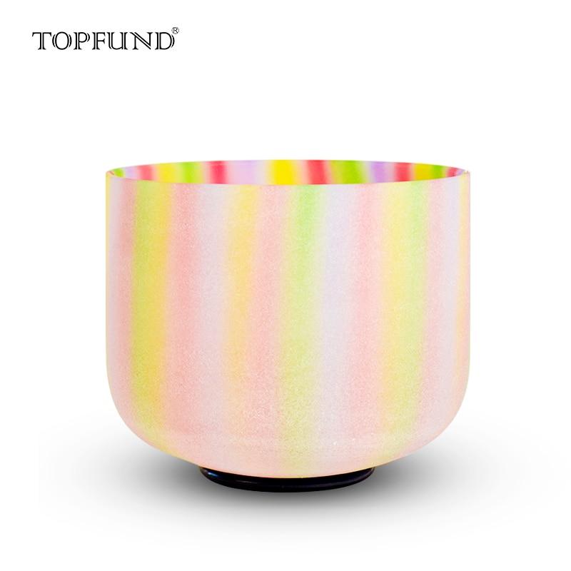 """TOPFUND радужные цветные матовые чакра кварцевые хрустальные поющие чаши 10 """"с ABCDEFG Note"""
