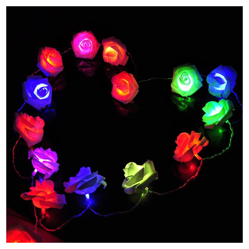 2M 20 LED Multicolor Rose Flowers String Lights, Clear Cable bedroom Decora, wedding, Party indoor,girl birthday gift ...