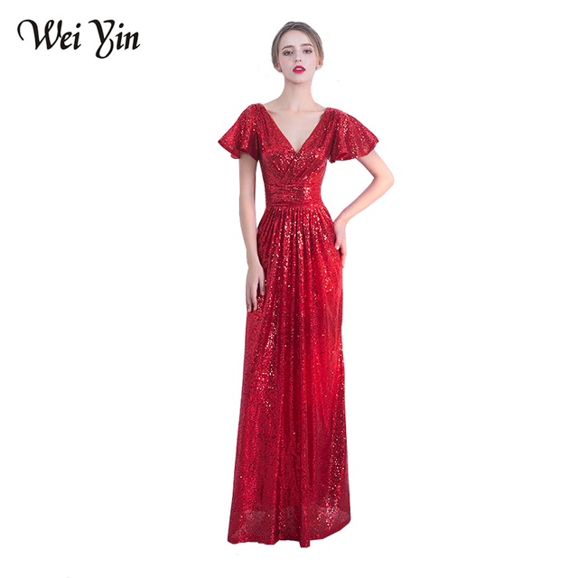 84d0aa77 WeiYin New Luxury Wine Red/Black Long Sequin Evening Dress Double V-Neck  Straight Evening Gowns Sexy Prom Party Formal Dresses