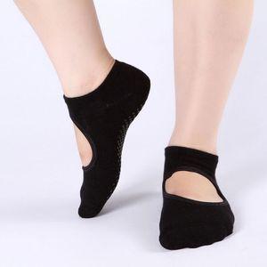Image 4 - Hot Sale New 1pair Wear resisting Backless Antibacterial Ankle Yoga Socks Cotton Anti slip Ballet Pilates Dacing Barre Sock