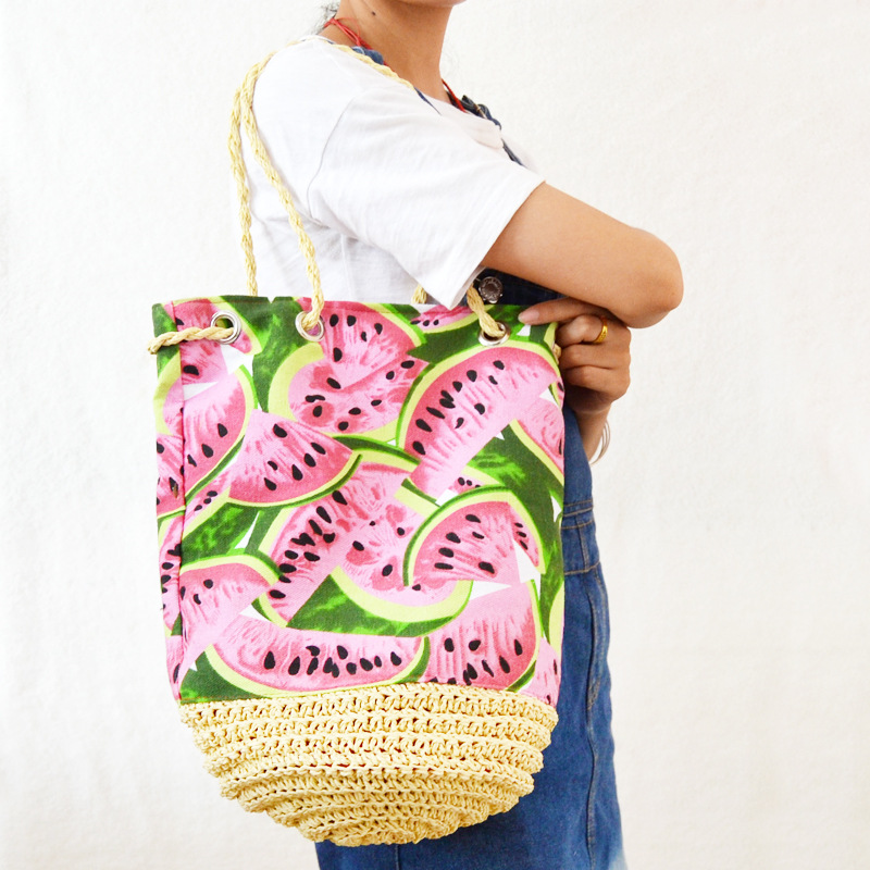 20X30cm Crochet Bucket Straw Bag Watermelon Woven Bag Beach Shoulder Canvas Bag A4100