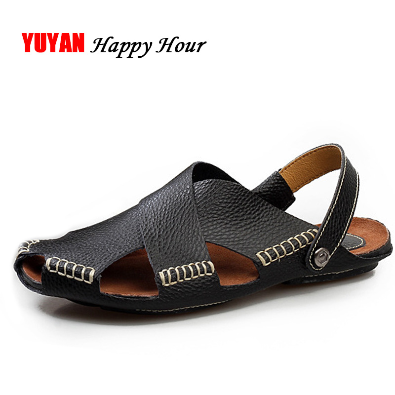 New 2018 Summer Shoes Men Genuine Leather Beach Sandals Soft Non-slip Men's Sandals Male Brand Cowhide Shoes K018 summer of 2016 new fashion brand comfort soft male beach leather sandals men closed toe sandals flexional suede leather shoes
