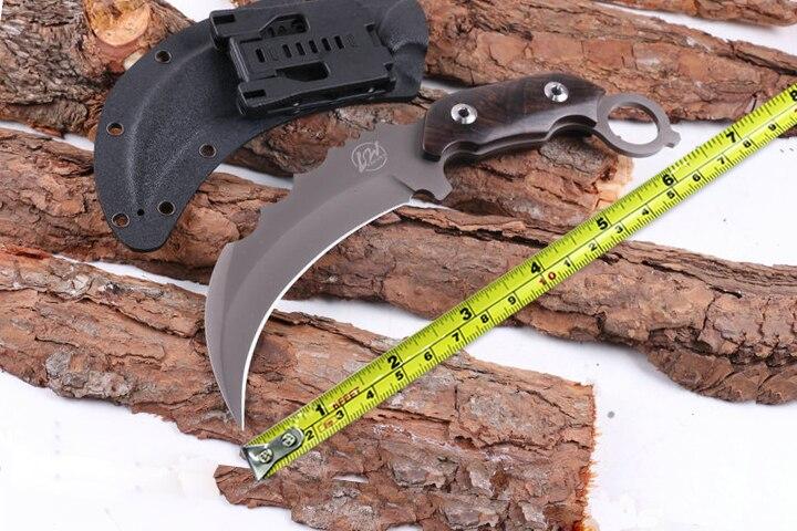 High Quality L W Karambit Hunting Fixed font b Knives b font 440C Blade Ebony Handle