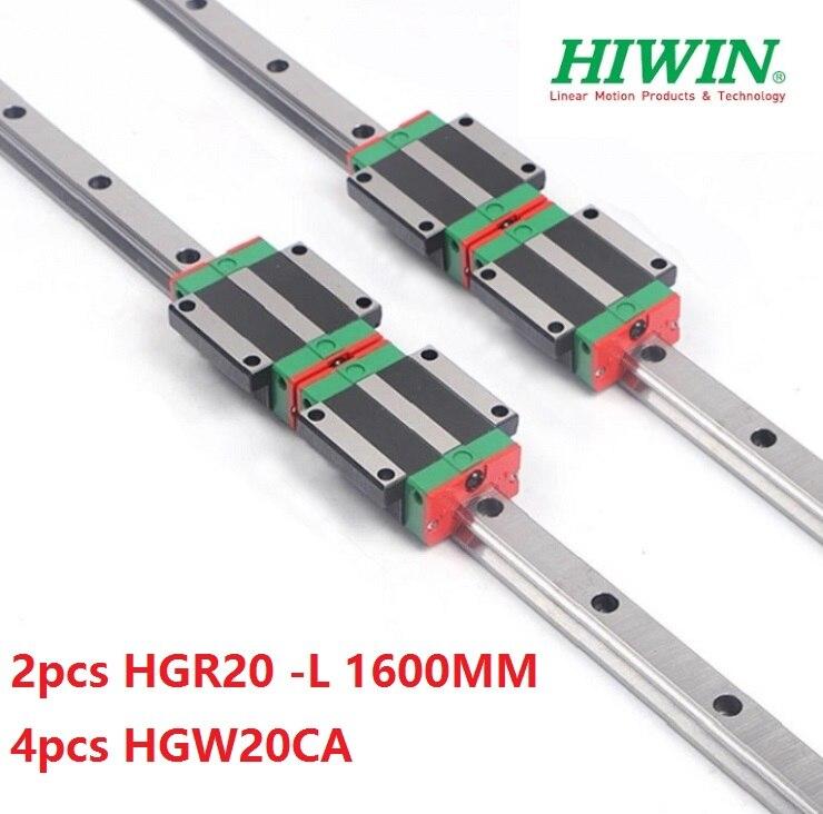 2pcs Taiwan Hiwin linear guide rail HGR20 - 1600MM + 4pcs HGW20CA/HGW20CC linear flanged blocks for cnc2pcs Taiwan Hiwin linear guide rail HGR20 - 1600MM + 4pcs HGW20CA/HGW20CC linear flanged blocks for cnc