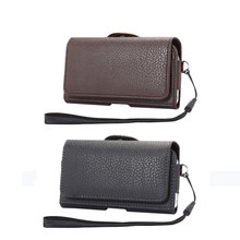 "Men's Casual Vintage Waist Bag Mobile Phone Case Multi-function Magnetic Buckle Pouch with Card Holder+Hand strap 4.0""-6.3"""