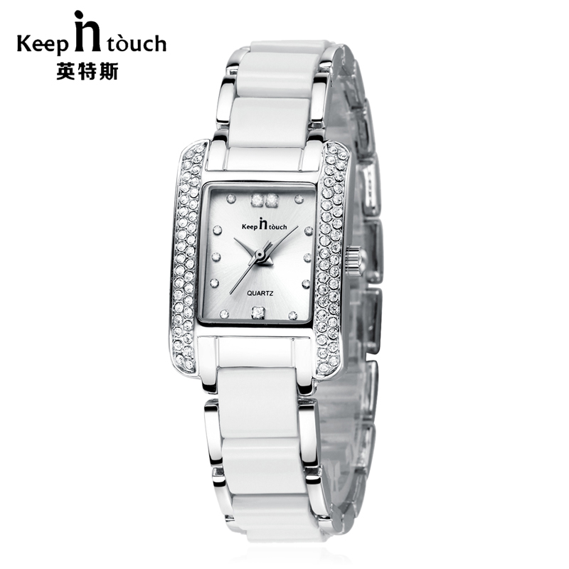 KEEP IN TOUCH Luxury Jewelry Ladies Square Watches Diamond Bracelet Quartz Women Watch Fashion Casual Reloj Mujer набор ножей agness 911 700