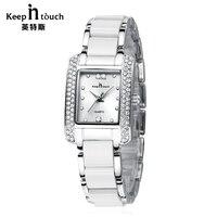 KEEP IN TOUCH Luxury Jewelry Ladies Square Watches Diamond Bracelet Quartz Women Watch Fashion Casual Reloj Mujer
