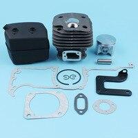 Cylinder Piston Muffler Exhaust Kit For Husqvarna 268 268K 61 268XP 272 Chainsaw (50mm) Bracket Gaskets Set #503 61 10 71