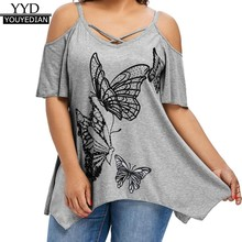63eca3d221f (Ship from US) Summer Tops For Women 2018 T Shirt Womens Tunic Butterfly  Print Cold Shoulder Cross Short Sleeve Tops Tshirt Clothes Women