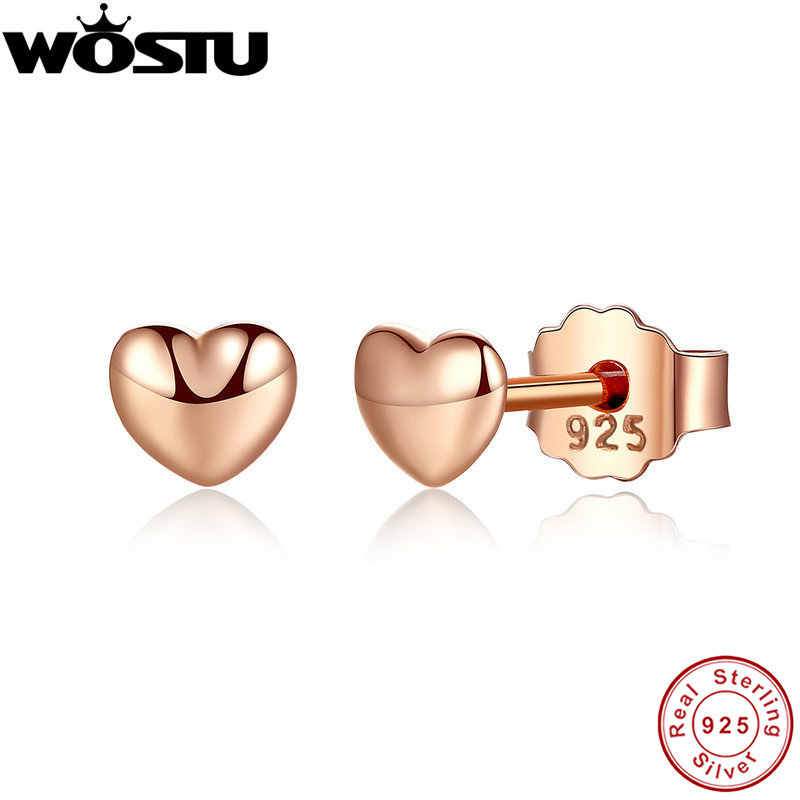 Real 100% 925 Sterling Silver & Rose Gold Color Petite Hearts Stud Earrings For Women Female Authentic Original Jewelry XCHS440