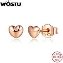 bce8ff7f9a01 100% Real 925 plata esterlina y oro Color de rosa Petite corazones  pendientes para las mujeres mujer Original auténtico de XCHS4.
