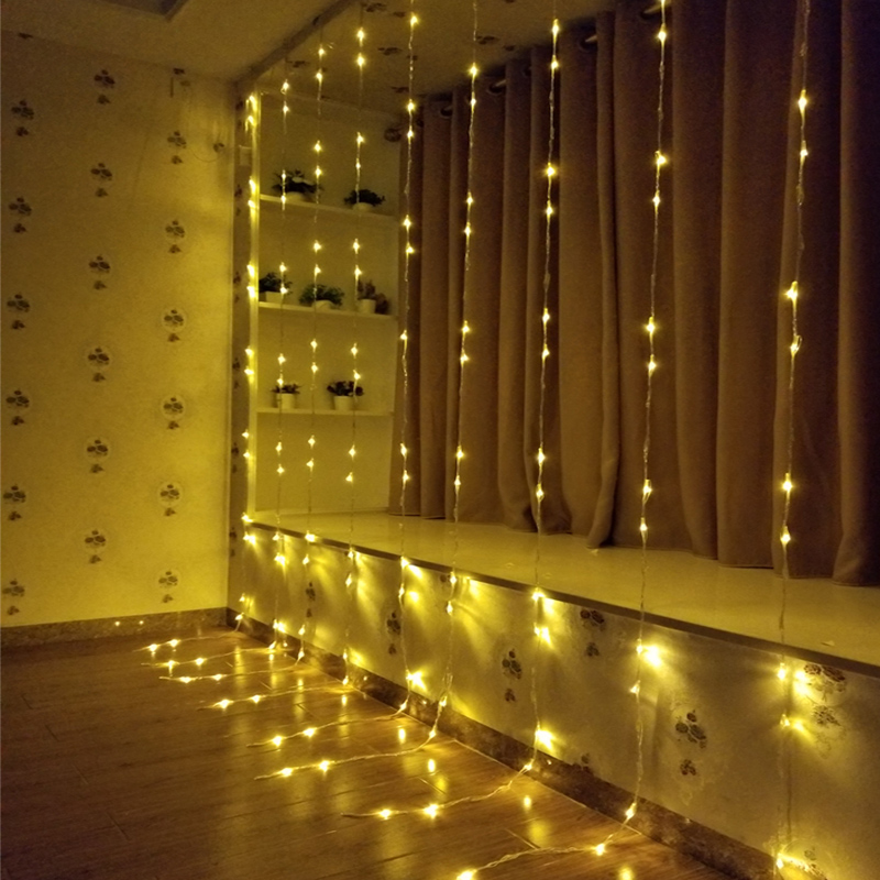 3x3M 320LED water flow snowing effect curtain led waterfall string Light Christmas Xmas Wedding Party Background garden Decor