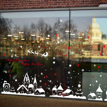 [Fundecor] diy home decor new snow town christmas wall stickers window glass decorative wall decal adornos navidad 2017