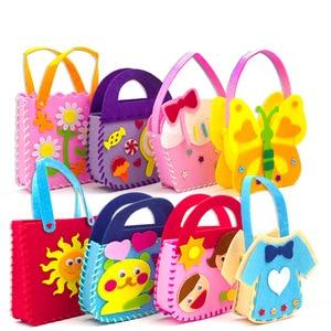 2019 New Handicraft Toys for Children Pink Bag Girl Gift Fabrication DIY Toy Animal Handbag Arts Crafts Educational Toy