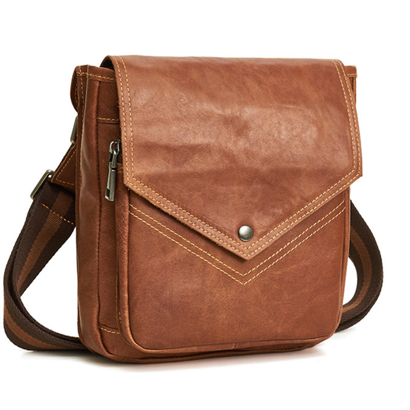 100% Natural Cowskin Vintage Men Shoulder Messenger Bags Vertical Leisure Man's Cross-body Bag Casual Brand Designers Travel bag