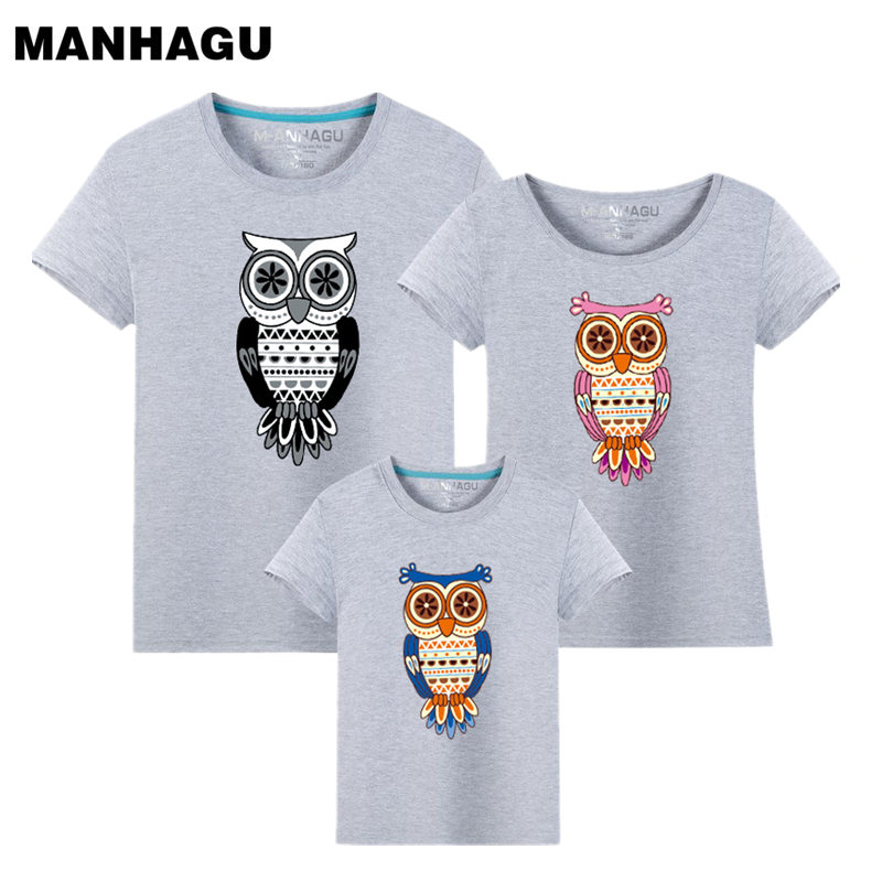 1Peece Family Matching Clothes 2017 Summer New Cartoon Owl Print Manica corta Mommy And Me Clothes Family Shirt Ropa Mama e Hija