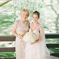 Lindo mãe do vestido de noiva com decote colher Cap manga curta andar de comprimento casamento vestido para a mãe