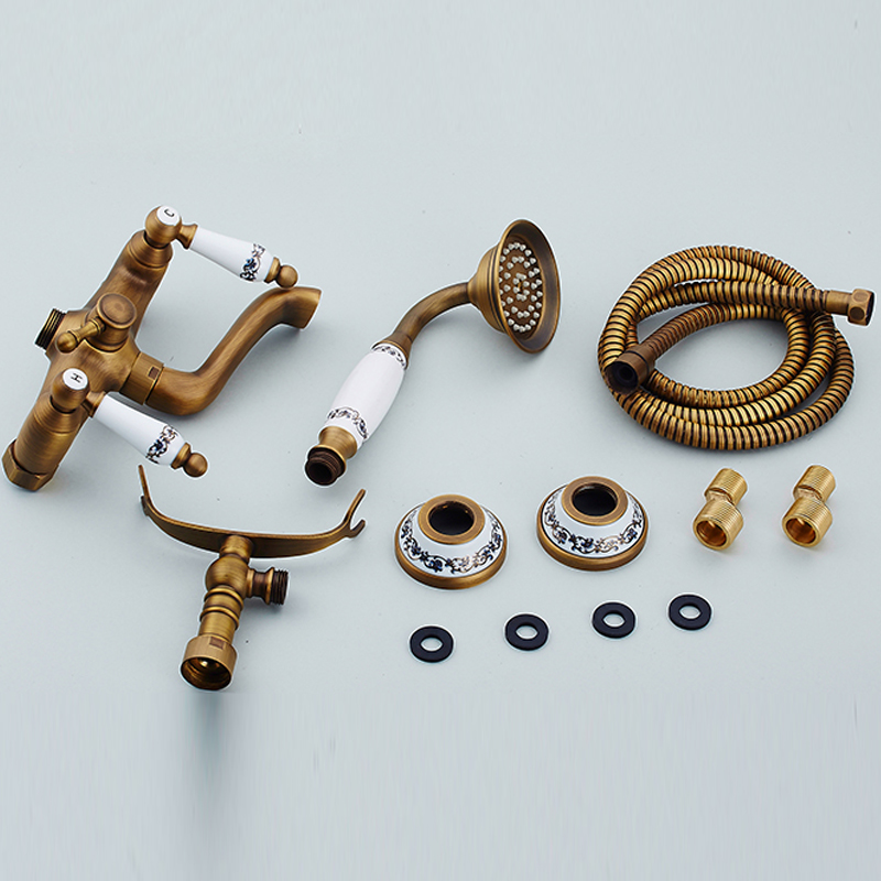 Wall Mounted Bath & Shower Faucet Antique Brass Dual Handle Dual ...