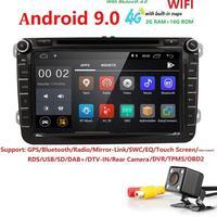 Ossuret IPS 2din Android 9.0 Quad Code Car DVD Player for V W passat b6 golf 4 5 tiguan polo skoda octavia 2 radio DAB DVR Cam