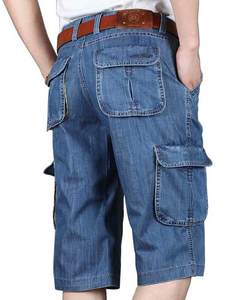 Denim Shorts Jeans Bermuda Summer Big-Pocket Cotton Mens New-Brand Loose Embroidery Wide-Leg