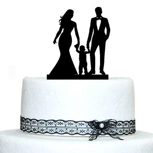 Happy Family Wedding Cake Toppers con Niño Novia y Novio Silueta - Para fiestas y celebraciones