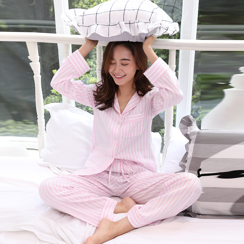 2019 spring autumn women cotton   pajama     sets   pink and white color stripped European and American style brief winter pyjamas