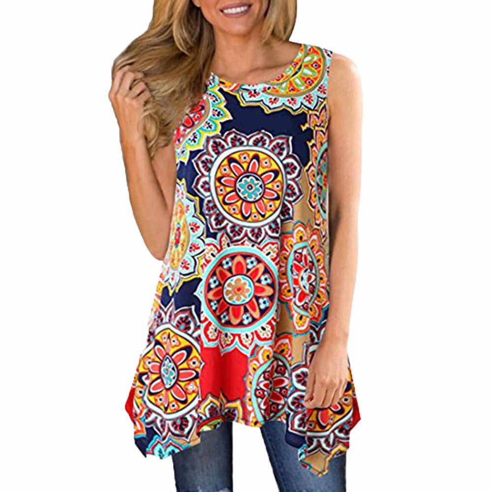 79c3696be1 Detail Feedback Questions about ISHOWTIENDA Womens Tops and Blouses Casual  Irregular Printed Sleeveless Asymmetrical Loose Tunic Blouse Tops Ladies  Clothing ...