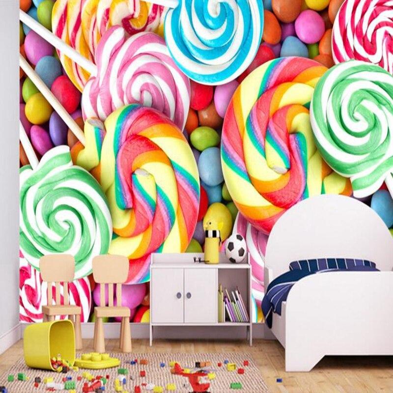 YOUMAN 3d Photos Hd Desktop Picture Baby Wallpaper Children Room Lollipop Candy Full Hd Wallpapers Wall Mural Home Decoration