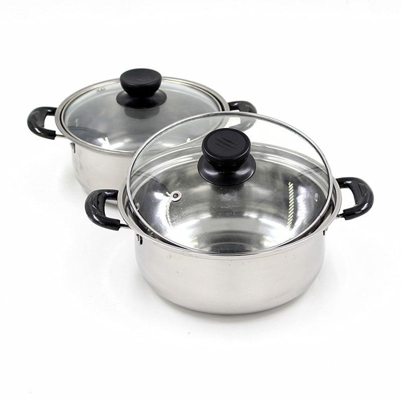 Calidad de acero inoxidable olla de sopa antiadherente utensilios de cocina ollas sartenes cacerola cocinar cazuela no magnético olla caldera cerveza 1 unids