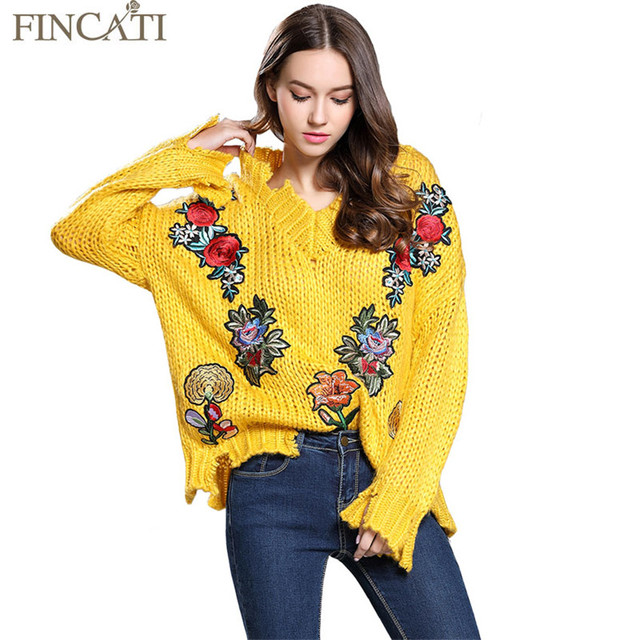 Women Sweater 2017 Knitting Shirt V Neck Rabbit Furs Floral Embroidery Loose Distressed Knitwear Sweaters Pullover Pulls Femme