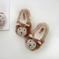 Children Slippers New Imitation Rabbit Velvet Slippery Little Lion Kids Cotton Shoes Indoor Cute Cartoon Toddler Slippers