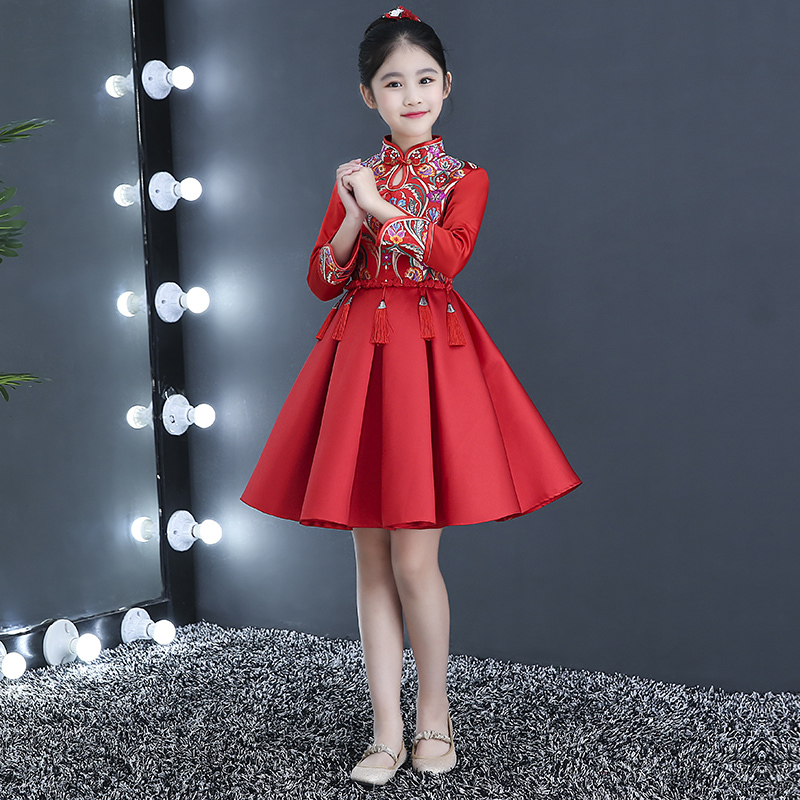 Chinese New Year Dress For Girls Children Long Sleeve Flower Girl Princess Cheongsam Red Winter Qipao Modern Party Dresses girl