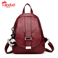 High Quality PU Leather Women Backpacks Cartoon Bear School Backpack For Teenager Girl Fashion Multifunction Women