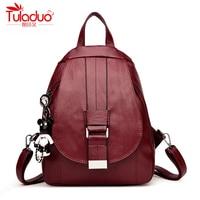 High Quality PU Leather Women Backpacks Cartoon Bear School Backpack For Teenager Girl Fashion Multifunction Women